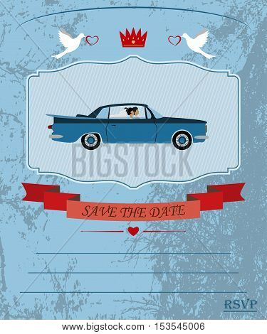 an invitation to the wedding and celebration. the bride and groom rode in a car vector illustration for designers and publishers. fully editable