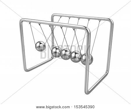 Newton's Cradle isolated on white background. 3D render