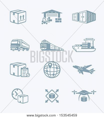 Logistics and delivery gray icon-set