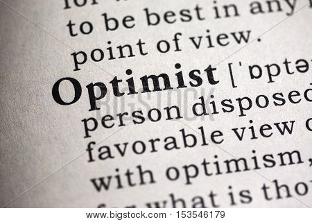 Fake Dictionary Dictionary definition of the word optimist.