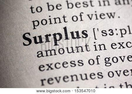 Fake Dictionary Dictionary definition of the word surplus.