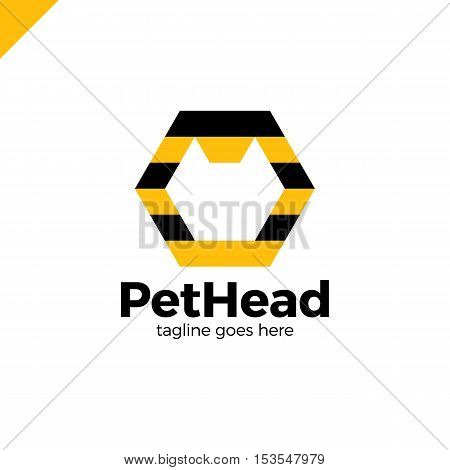 Stylized Silhouette Of Dog Head In Hexagon - Abstract Logo In Low Poly Triangle Style