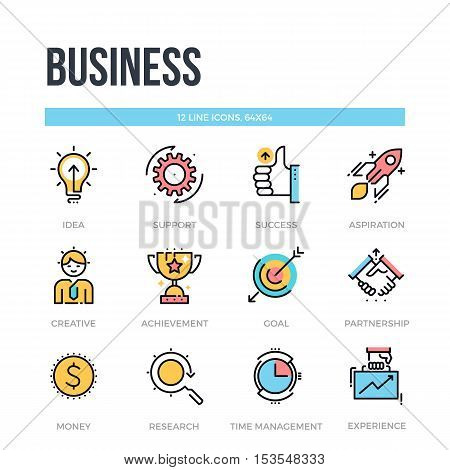Business icons. Thin line pictograms. Vector elements.