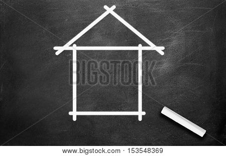 Chalk and house write on chalkboard background