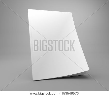 Blank A4 standing cover mock up of a magazine. 3D illustration template with empty cover.