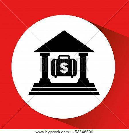 silhouette bank building portfolio money orange background vector illustration