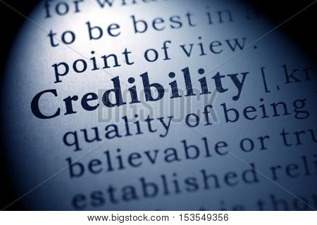 Fake Dictionary Dictionary definition of the word credibility.