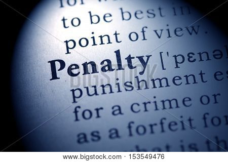 Fake Dictionary Dictionary definition of the word penalty.