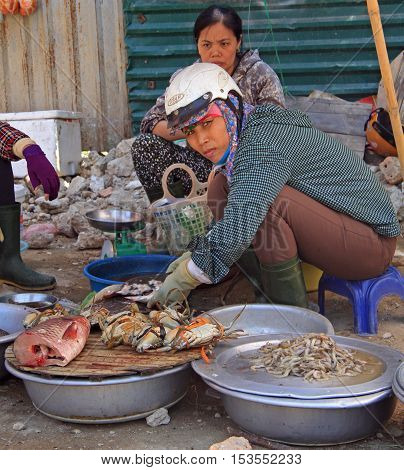 Vinh, Vietnam - May 29, 2015: woman is selling seafoods outdoor in Vinh, Vietnam