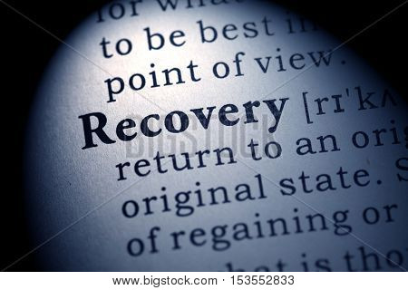 Fake Dictionary Dictionary definition of the word recovery.