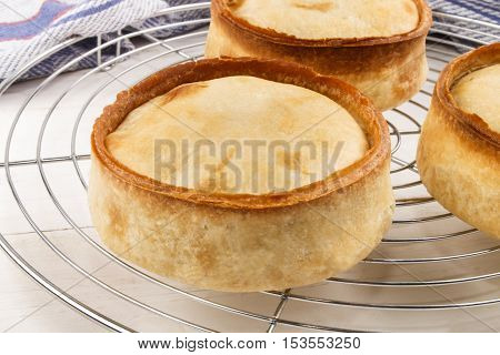 home made scotch pie on a cooling rack and kitchen towel in the background