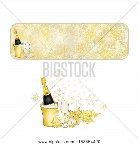 Banner New Year fireworks and midnight toast gold background vector illustration