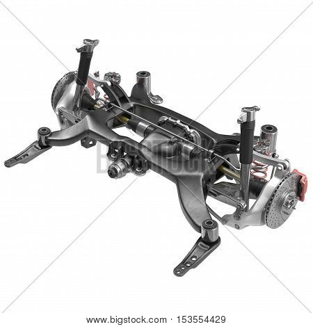 Sedan Back Axle isolated on white background. 3D illustration