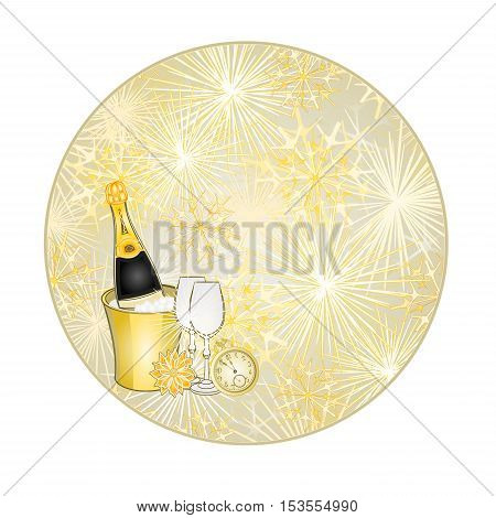 Button circular New Year fireworks and midnight toast gold background vector illustration