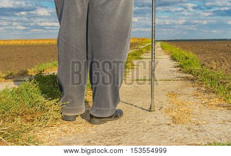 Man with metal walking stick standing on a concrete road among agricultural fields at fall season (shoot from behind)