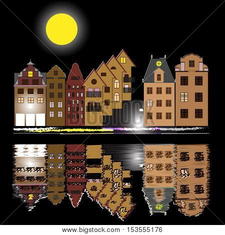Night vector illustration poster with houses,  moon and reflection in water. Old buildings in city. A cartoon style quay with brownstone houses.