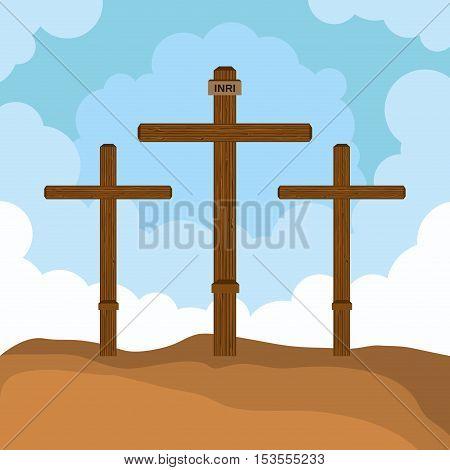 three cross mount calvary design vector illustration eps 10