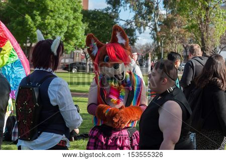 ADELAIDE, AU - OCTOBER 22, 2016: Thousands of South Australians gather  for the annual Adelaide Pride March.