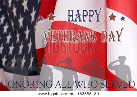 Veterans day background. Text veterans day 11 th november , the USA flag and the shadow of the soldier with the inscription honoring all who served.
