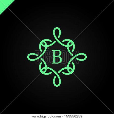 Simple and graceful floral monogram design template Elegant lineart logo design vector illustration letter B in middle