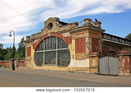 Kronstadt Russia - 10 July 2016: Machine school of the Baltic fleet (opened in 1868) in Kronstadt. Here are trained the ship's stokers.Building was built in art Nouveau style