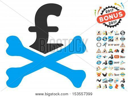 Mortal Pound Debt pictograph with bonus 2017 new year icon set. Vector illustration style is flat iconic symbols, modern colors.