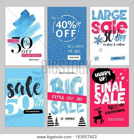 Set of winter mobile sale banners. Vector illustrations of season online shopping website and mobile website banners, posters, newsletter designs, ads, coupons, social media banners.