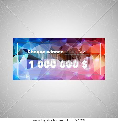 Abstract creative concept vector icon of cheque winner. For web and mobile content isolated on background, unusual template design, flat silhouette object and social media image, triangle art origami.