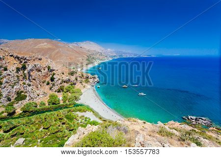 Panorama of Preveli beach at Libyan sea river and palm forest southern Crete Greece