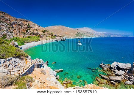 Panorama of Preveli beach at Libyan sea southern Crete Greece