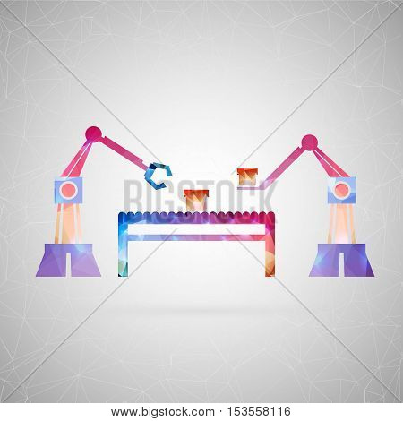 Abstract creative concept vector icon of robotic arm. For web and mobile content isolated on background, unusual template design, flat silhouette object and social media image, triangle art origami.