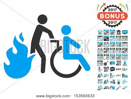 Fire Patient Evacuation pictograph with bonus 2017 new year graphic icons. Vector illustration style is flat iconic symbols, modern colors.