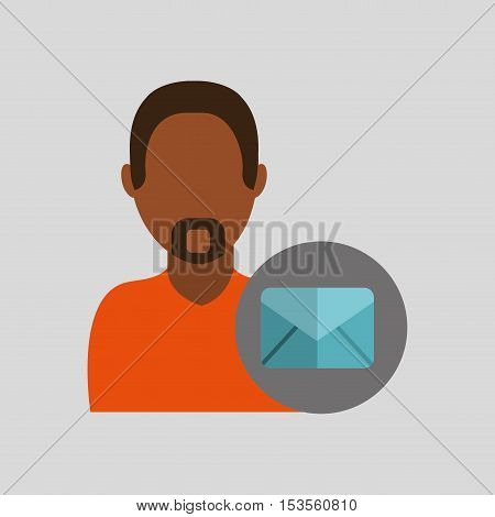 man african email message icon design graphic isolated vector illustration