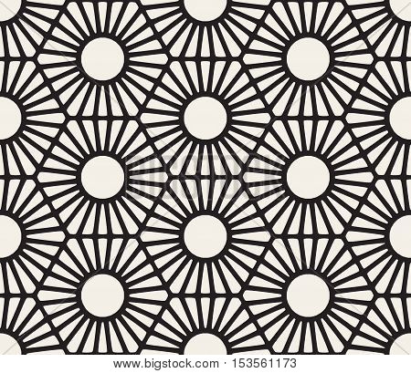 Vector Seamless Black And White Hexagon Lines Sunburst Pattern. Abstract Geometric Background Design