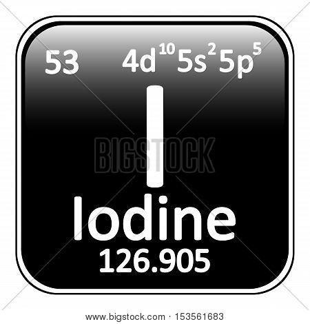 Periodic table element iodine icon on white background. Vector illustration.