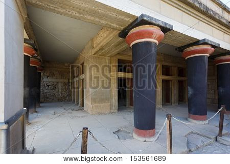 Heraklion Greece - October 12 2016: The ruins of Knossos ancient city in Crete located near modern Heraklion city