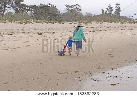 Grandma and her Grandchild on the Beach in Santa Barbara California
