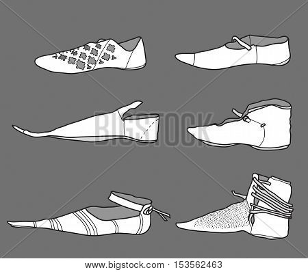 Footwear from the 14th century at Europe.