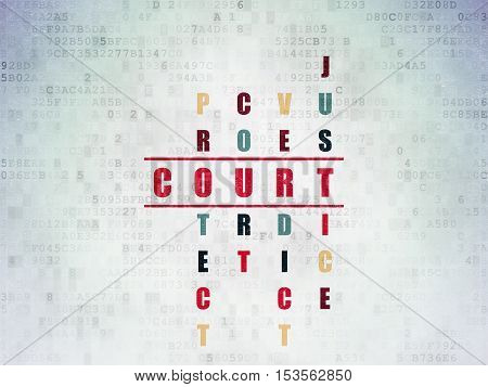 Law concept: Painted red word Court in solving Crossword Puzzle on Digital Data Paper background