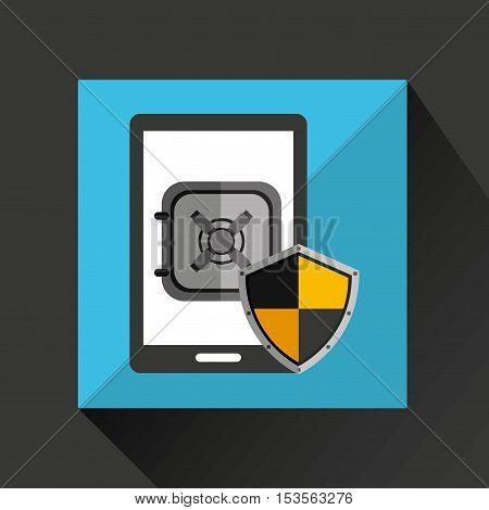 smartphone black safe box money icon vector illustration