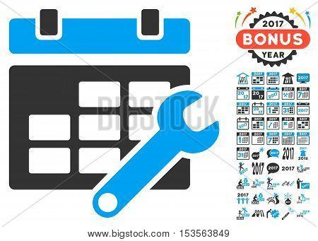 Timetable Options pictograph with bonus 2017 new year pictograms. Vector illustration style is flat iconic symbols, modern colors.