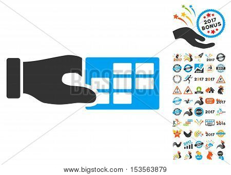 Timetable Properties pictograph with bonus 2017 new year design elements. Vector illustration style is flat iconic symbols, modern colors.