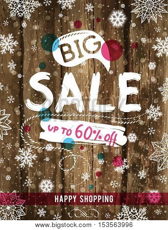 Christmas poster with snowflakes and sale offer vector illustration