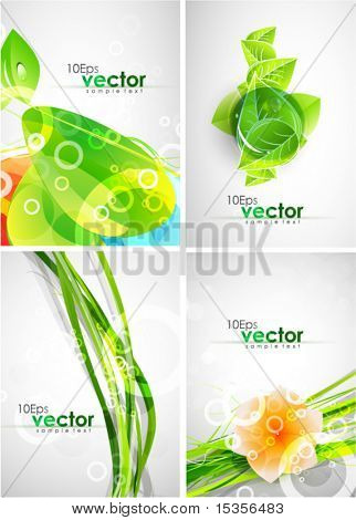 Pack of green abstract backgrounds