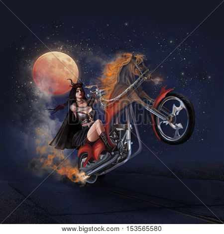 Witch woman ride horse motorcycle through the starry night with full moon.