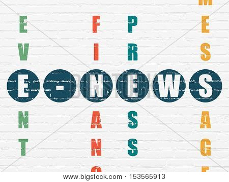 News concept: Painted blue word E-news in solving Crossword Puzzle