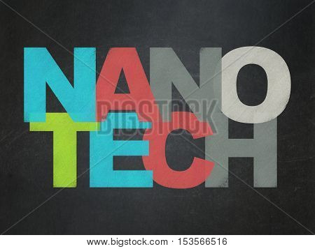 Science concept: Painted multicolor text Nanotech on School board background, School Board