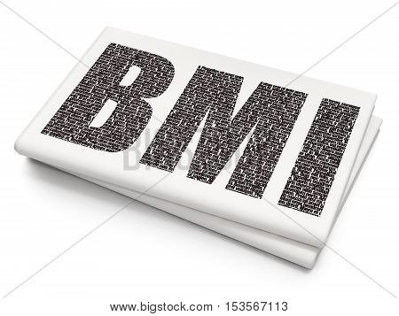 Healthcare concept: Pixelated black text BMI on Blank Newspaper background, 3D rendering