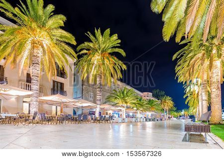 TIVAT MONTENEGRO - SEPTEMBER 21: This is the central seafront promenade area of Tivat where you can find restaurants cafes and shops on September 21 2016 in Tivat