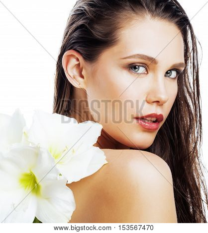 young pretty woman with  Amarilis flower close up isolated on white, hands manicure